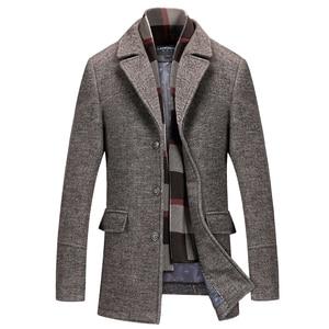 Image 2 - New Fashion Brand Mens Clothing Jacket Wool Coat Men Single Breasted Turn Down Collar Slim Fit Peacoat Long Winter Men Coat 4XL
