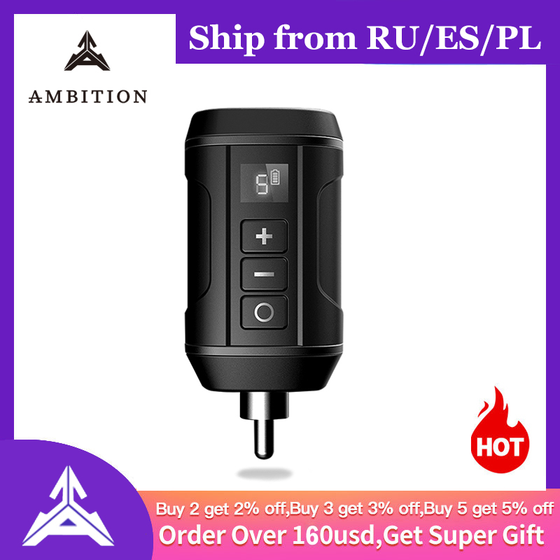 Ambition Original Wireless Tattoo Battery Power Supply Cheyenne Hawk RCA AUDIO Connector Supplies For Tattoo Pen Fast Charger