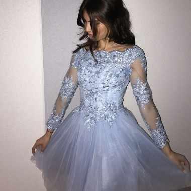 2019 Vestidos Blue sky Vestidos Jewel Neck Completa Mangas Vestido de Festa Curto do Regresso A Casa Vestidos de Formatura