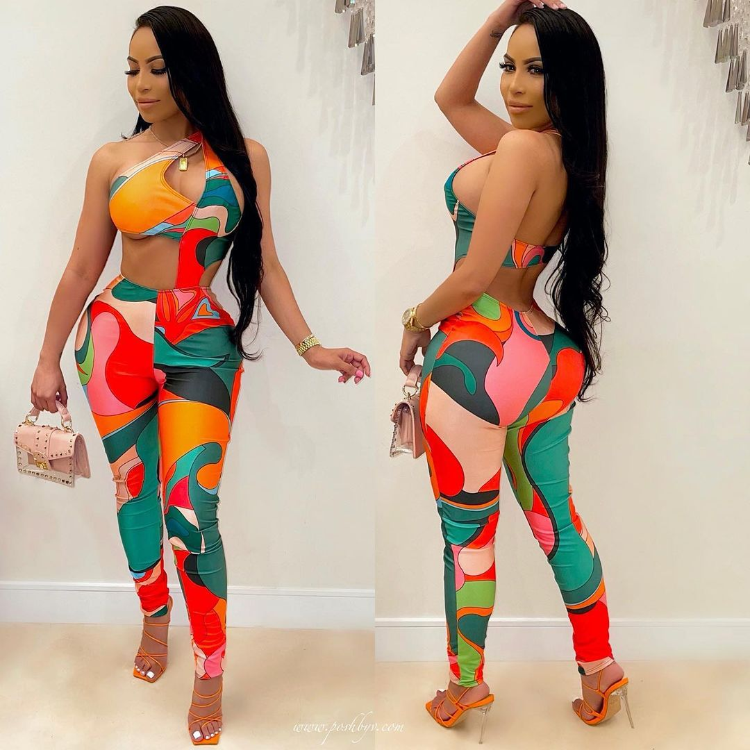 VAZN 2021 Neue Bunte Patchwork Shinny Plissee Sexy Dame Frauen Party Strand Overalls Full Pant Verband Strampler