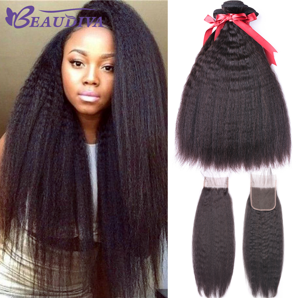 Kinky Straight Hair With Closure Peruvian Human Hair 3 Bundles With Closure Beaudiva Remy Hair Closure With Bundles