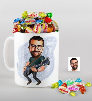 Personalized Mr Guitarist Caricature Of mug And Haribo Fruitbons Candy Gift set