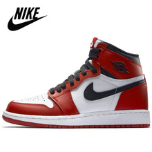 Original Nike Air Jordan 1 FileRecv AJ–1 Chicago Red Mid-High Top Mens Basketball shoes Comfortable Mans Sport Size 40-46