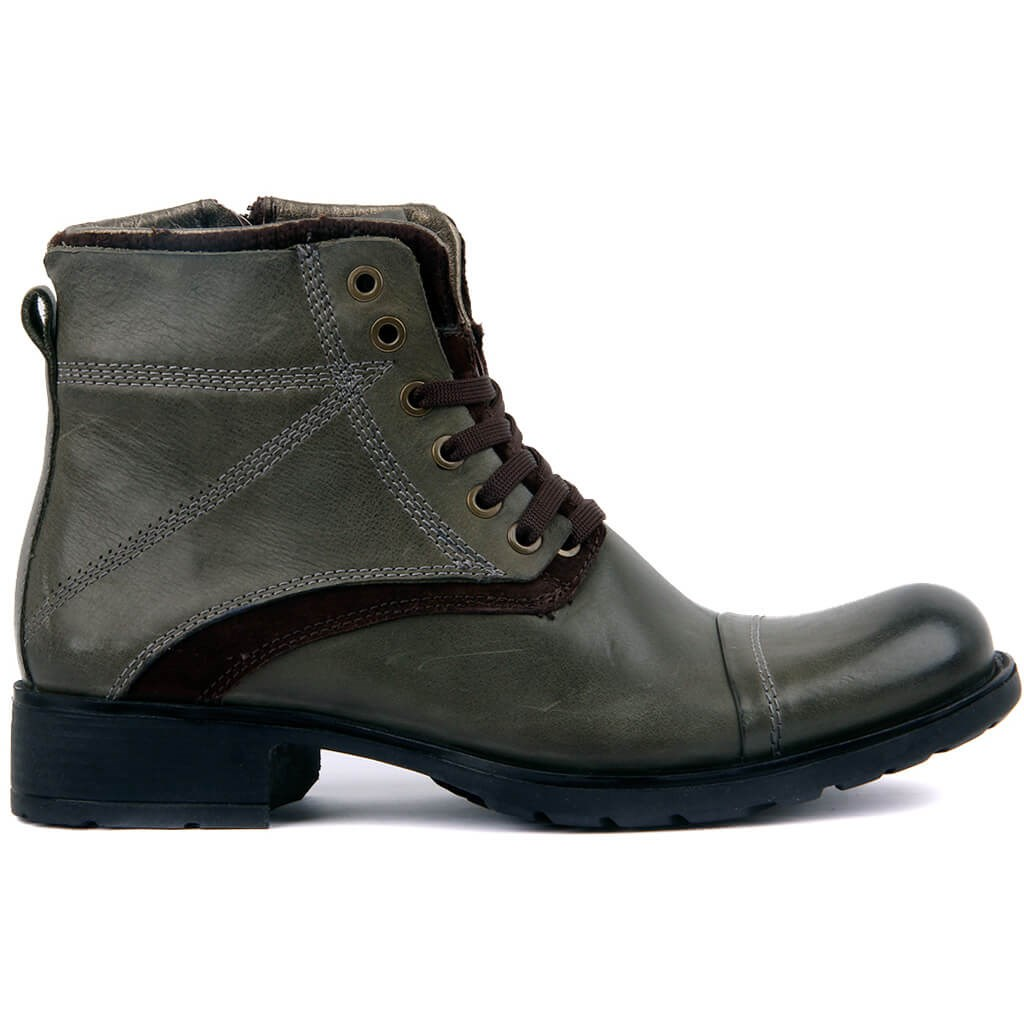 Sail Lakers-Green Leather Zipper Male Boots