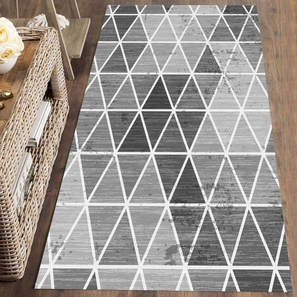Else Gray Triangles Geometric Nordec Scandinav 3d Print Non Slip Microfiber Washable Runner Mats Floor Mat Rugs Hallway Carpets