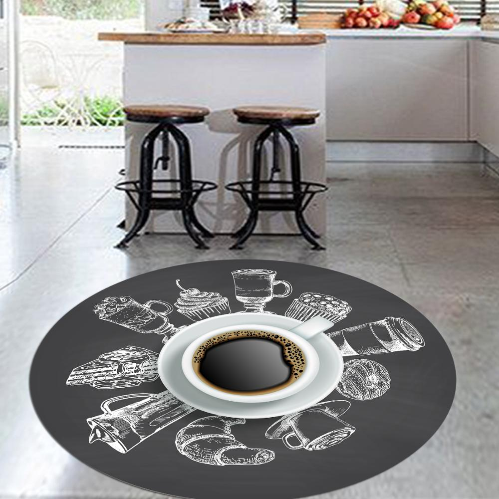 Else Black White Turkish Coffee 3d Pattern Print Anti Slip Back Round Kitchen Carpets Area Rug For Living Rooms