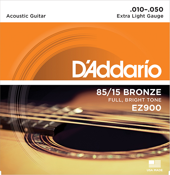 Ez900 American Bronze 85/15 Strings For Acoustic Guitar Extra Light 10-50 D'Addario