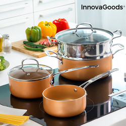 InnovaGoods Copper-Effect Pot Set & Steamer (6 Pieces)