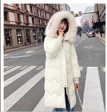 Nouveaux los abrigos surdimensionnés épais veste dhiver femmes à capuche col es fourrure vers le bas coton manteau longue veste fe