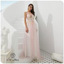 NEW 2020 St.Des A-line Round-Neck Russian Pink Blue Beading Sleeveless Designer Floor Length Evening Dress Party Dress fashionable women s bowknot decorated sleeveless pink round neck dress