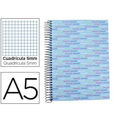SPIRAL NOTEBOOK LEADERPAPER A5 MICRO MULTILIDER LINED TOP 140H 80GSM TABLE 5MM 5 BANDS 6 DRILLS CELESTE