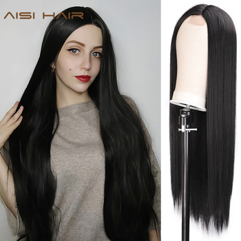 AISI HAIR Long Straight Black Wig Synthetic Wigs for Women Natural Middle Part Lace Wig Heat Resistant Fiber Natural Looking Wig 1