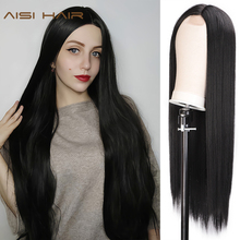 AISI HAIR Long Straight Black Wig Synthetic Wigs for Women Natural Middle Part Lace Wig Heat Resistant Fiber Natural Looking Wig on AliExpress