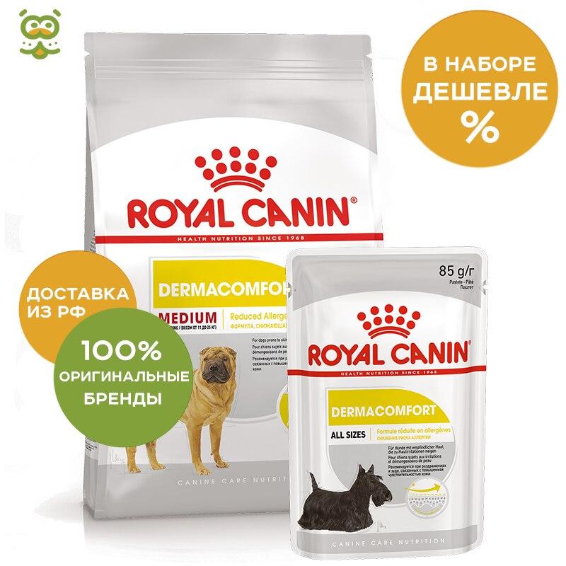 Dog Food Royal Canin Medium Dermacomfort, 10 kg; Dog wet canned food Royal Canin Adult Derma Comfort 24*80g