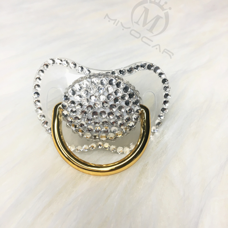 Miyocar All Handmade Bling White Pacifiers Unique Design King Queen Style 6 Colors Choose Gift Baby Shower PBC-1