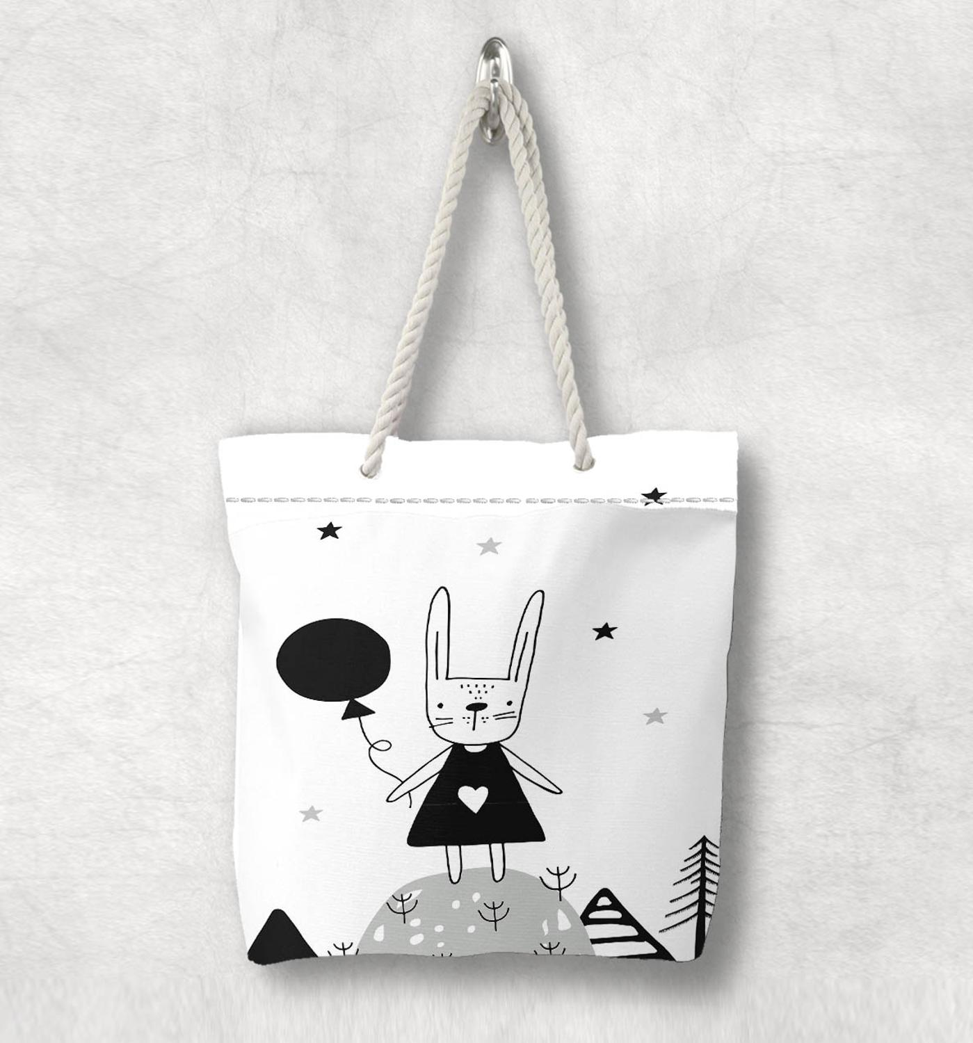 Else Black White Balloons Funny Cute Rabbit White Rope Handle Canvas Bag  Cartoon Print Zippered Tote Bag Shoulder Bag