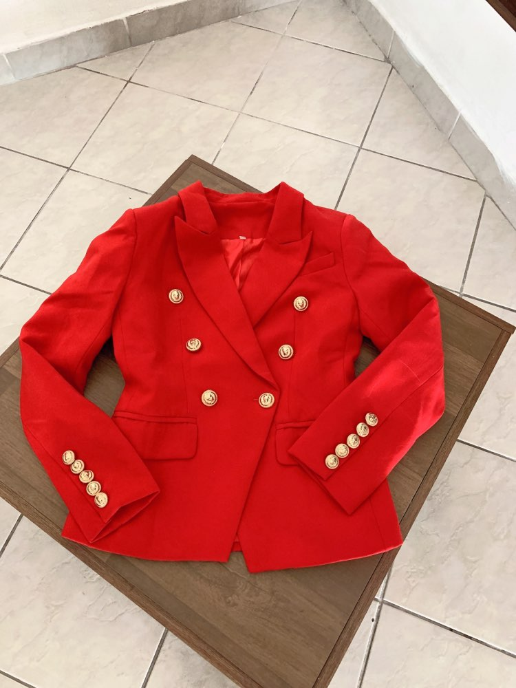 HarleyFashion European American Women Casual Blazer Double Breasted High Quality Plus Size Red Blazers reviews №1 115763
