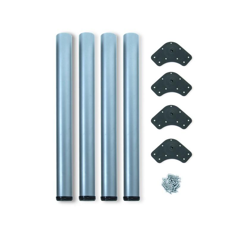 Kit 4 Table Legs Adjustable Emuca D. 60x830mm Steel Metallic Gray