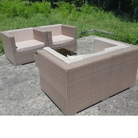 Outdoor furniture террасу braided faux rattan sofa, 2 chairs and table set with cushions Cube Маркоротанг