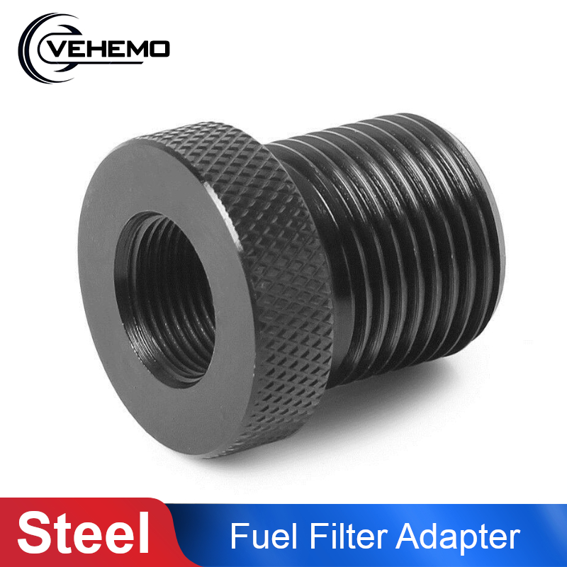 1/2-28 To 3/4-16 Threaded Adapter Automotive Oil Filter Knurled Steel Black