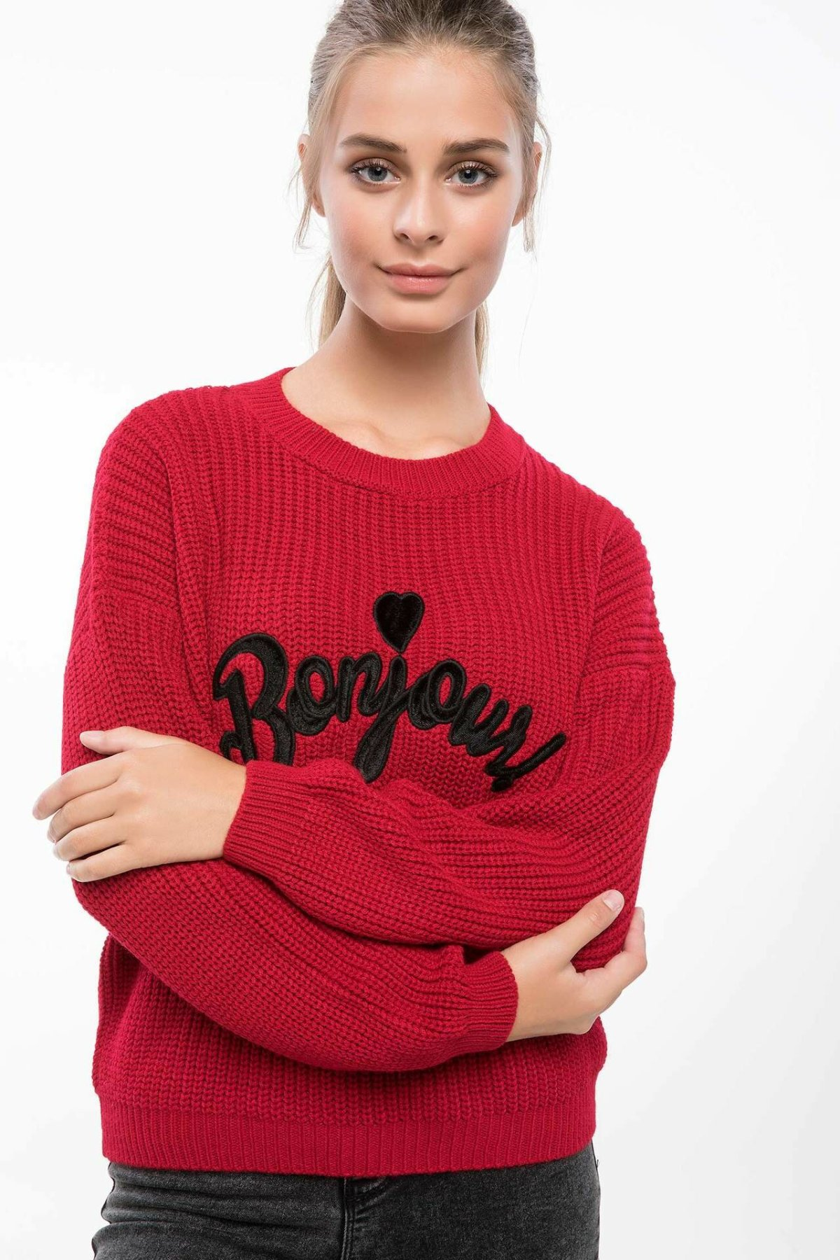 DeFacto Women O-neck Letter Knitted Casual Simple Pullover Long Sleeves Women Jumpers New-J2012AZ18AU