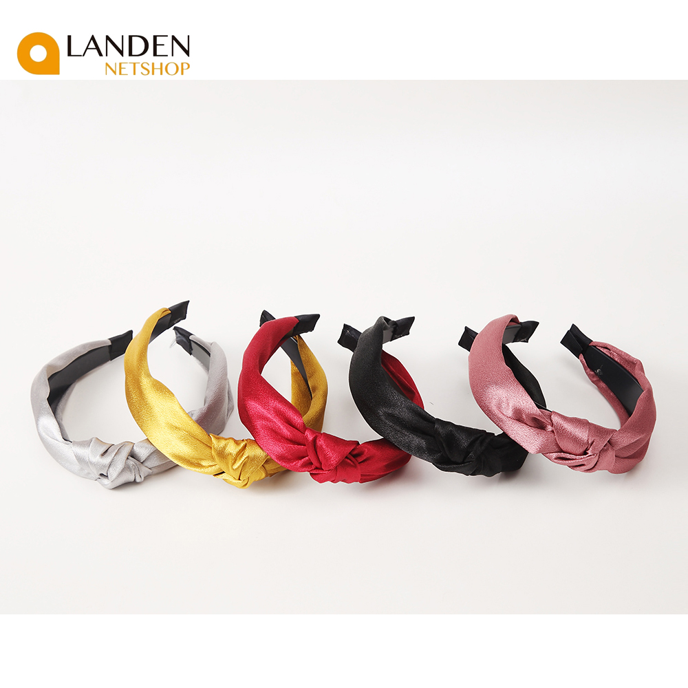 Fashion Satin Bright Color Cross Shaped Headband Wide Knotted Lariat For Women Turbans Headbands Vintage Style Hoop