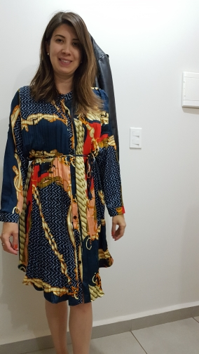 Women'S Summer Print Shirt Dress Long Sleeve Stand Collar Waist Tie Print Dress Loose Chiffon Pleated Dress Large Size Fashion photo review