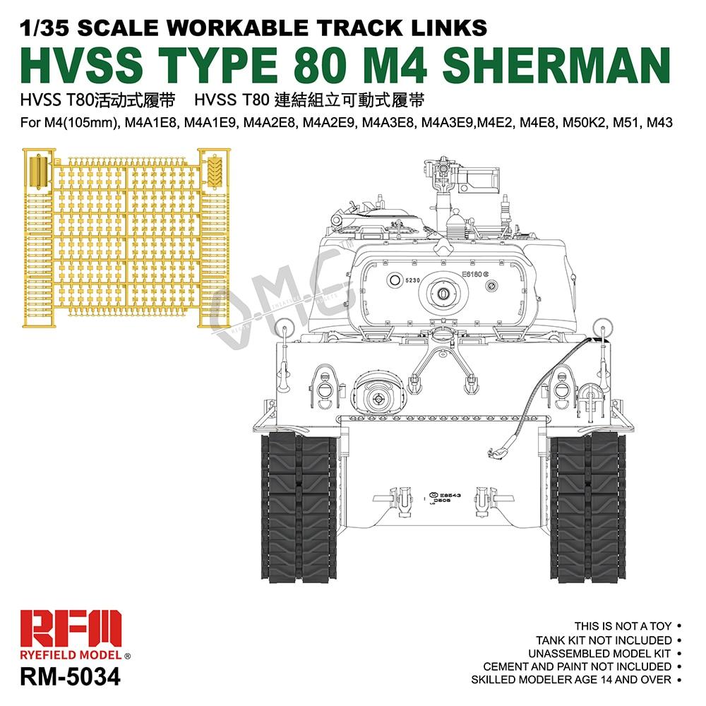 라이필드 모델 RFM 1/35 HVSS 타입 80 M4 셔먼, 작업 가능 트랙 링크|Model Building Kits| -  AliExpress