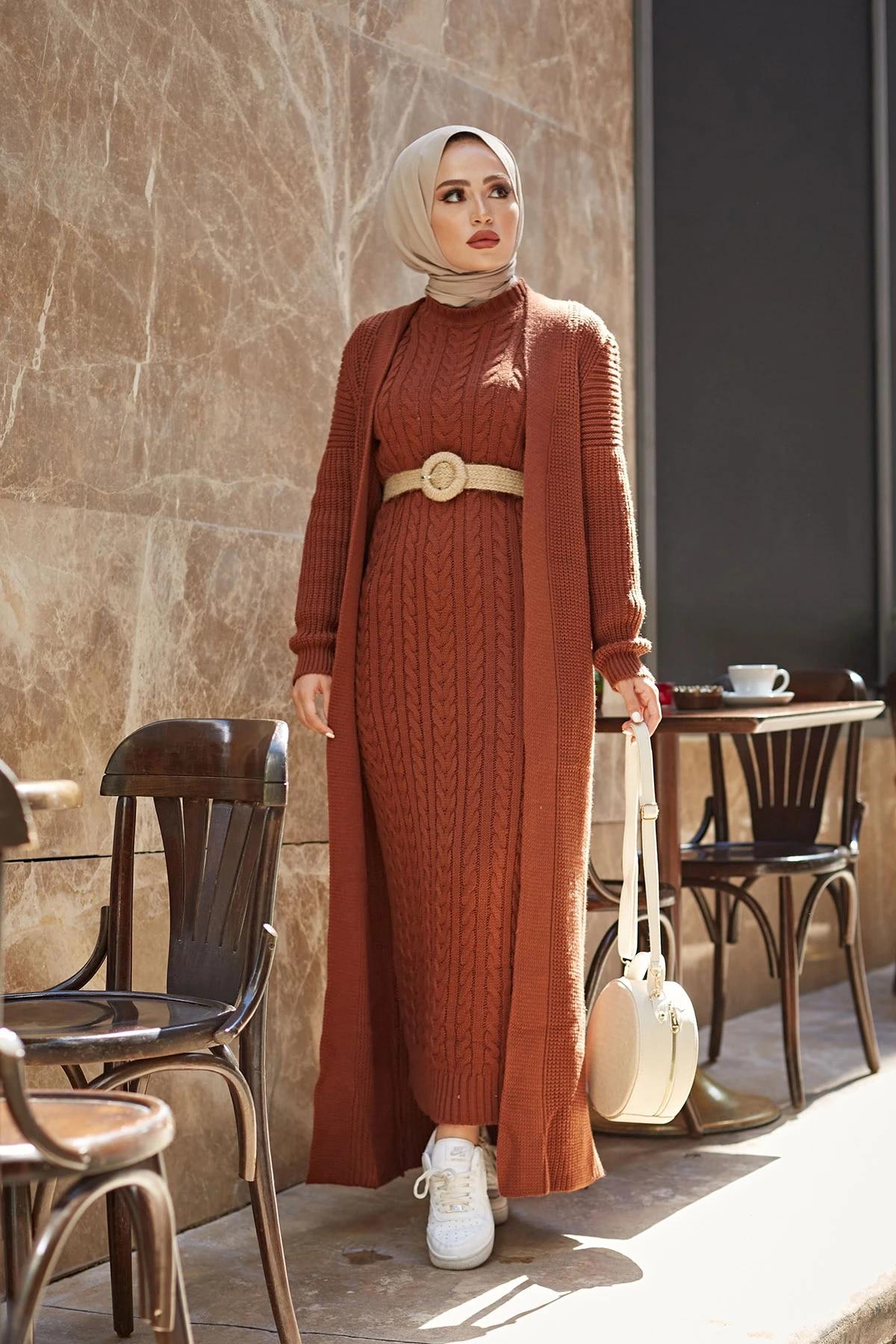 Комплект из 2 предметов, пальто для женщин Арабский мусульманка одежда длинное платье для зимы и осени, امرأة ستر Дубай модные английские