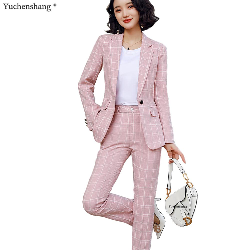 Fashion Casual Plaid Pant Suit Women S-5XL Female Blazer Suit Pink White Black Jacket Coat And Pant 2 Piece Set