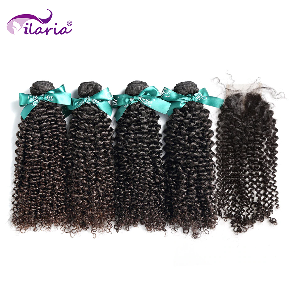 ILARIA HAIR Brazilian Kinky Curly Virgin Hair 4 Bundles With Closure 100% Human Hair Weave Bundles With Lace Closure No Shedding