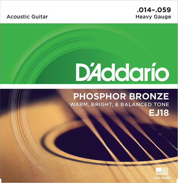 Ej18 Phosphor Bronze Strings For Acoustic Guitar, 14-59, D'Addario