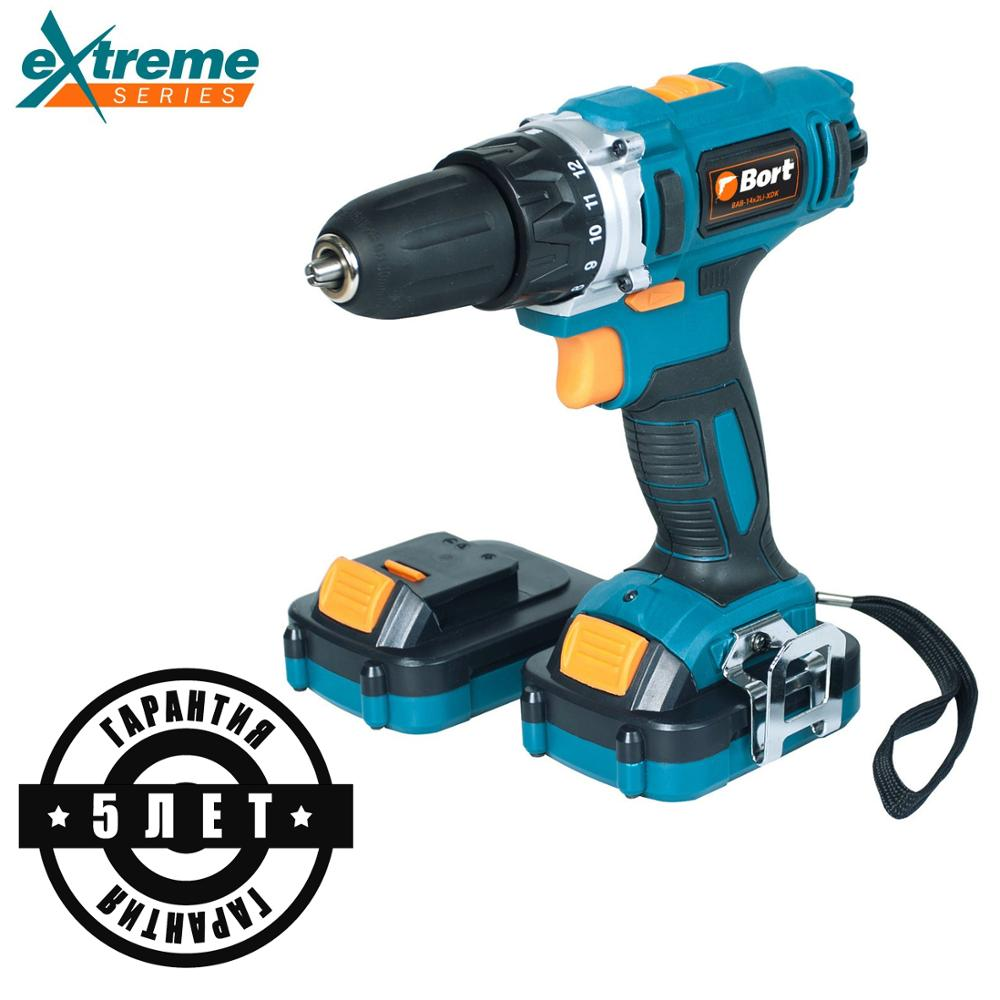 14V Bort Li-Ion Lithium Battery Electric Drill Cordless Screwdriver Mini Drill Cordless Screwdriver Power Tools Cordless Drill BAB-14x2Li-XDK hilda 16 8v electric screwdriver lithium battery 2 electric drill furadeira cordless screwdriver power tools with drill bit case