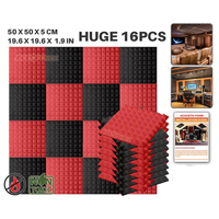 Arrowzoom 16 pcs 19.6 x 19.6 x 1.9 Pyramid Studio Foam Tile Sound Absorption Acoustic Foam 9 Color Combinations KK1034