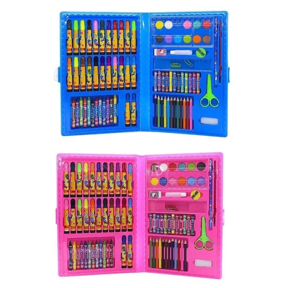 Набор для детского творчества 86 предметов чемодан творчества для рисования синий розовый для детей девочек мальчиков фломастеры