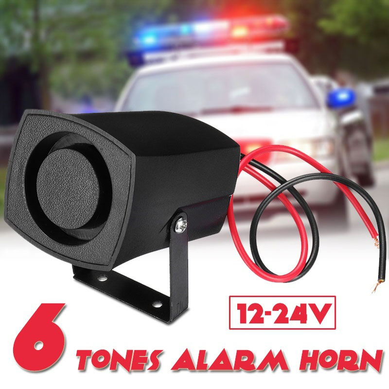 VEHEMO 6 Sound Loud Car Warning Alarm Police Fire Siren Air bugle PA Speaker 12V 100W Air Horn Siren Security Alarm