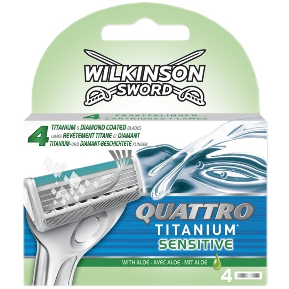 Wilkinson Sword Quattro Titanium Sensitive Refill Razor Blades 1 Pack/4 Pcs