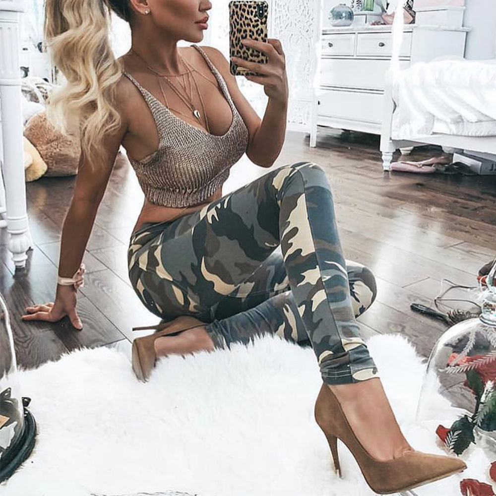 Melody Zipper Fly High Waist Camo Leggings Sexy Women Push Up Camouflage Print Casual Sporting Slim Pants Jeggings Femme