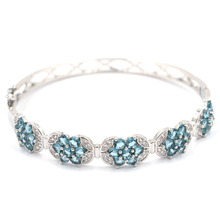 18x10mm Elegant Created London Blue Topaz White CZ Gift Silver Bangle Bracelet 7.5inch