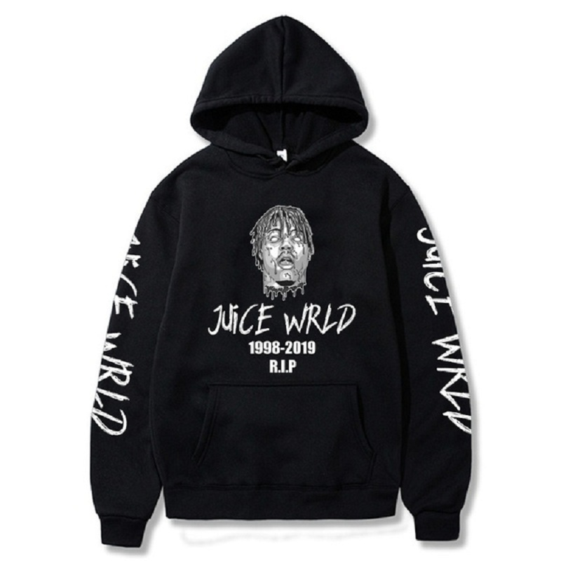 Rapper Juice Wrld R.I.P Printed Hoodies Cozy Hooded Sweatshirts Tops Pullovers