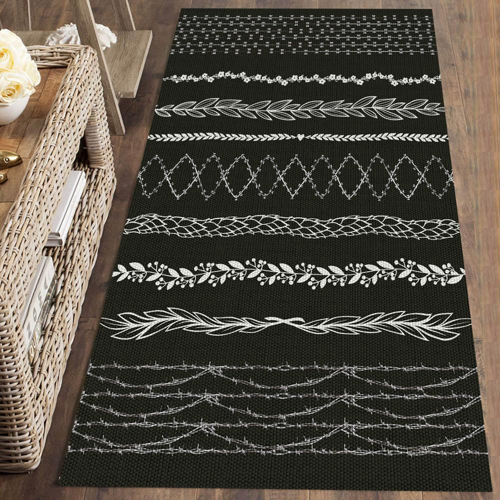 Else Black White Ethnic Nordec Geometric 3d Print Non Slip Microfiber Washable Long Runner Mat Floor Mat Rugs Hallway Carpets