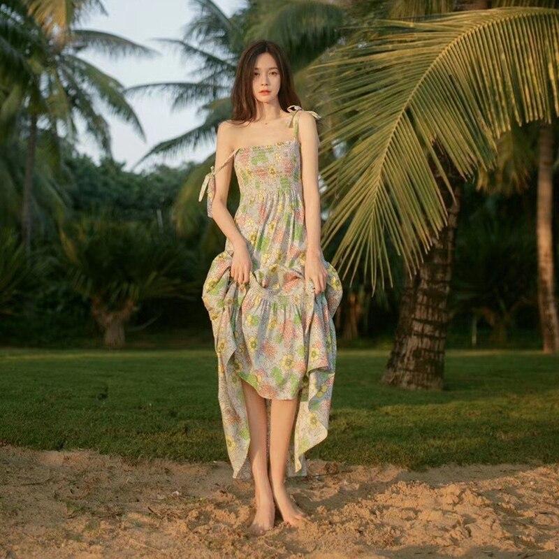 Летнее платье Shen Mengchen в новом стиле, однотонное платье на бретельках с цветочным принтом, Женская Праздничная пляжная юбка, широкая юбка