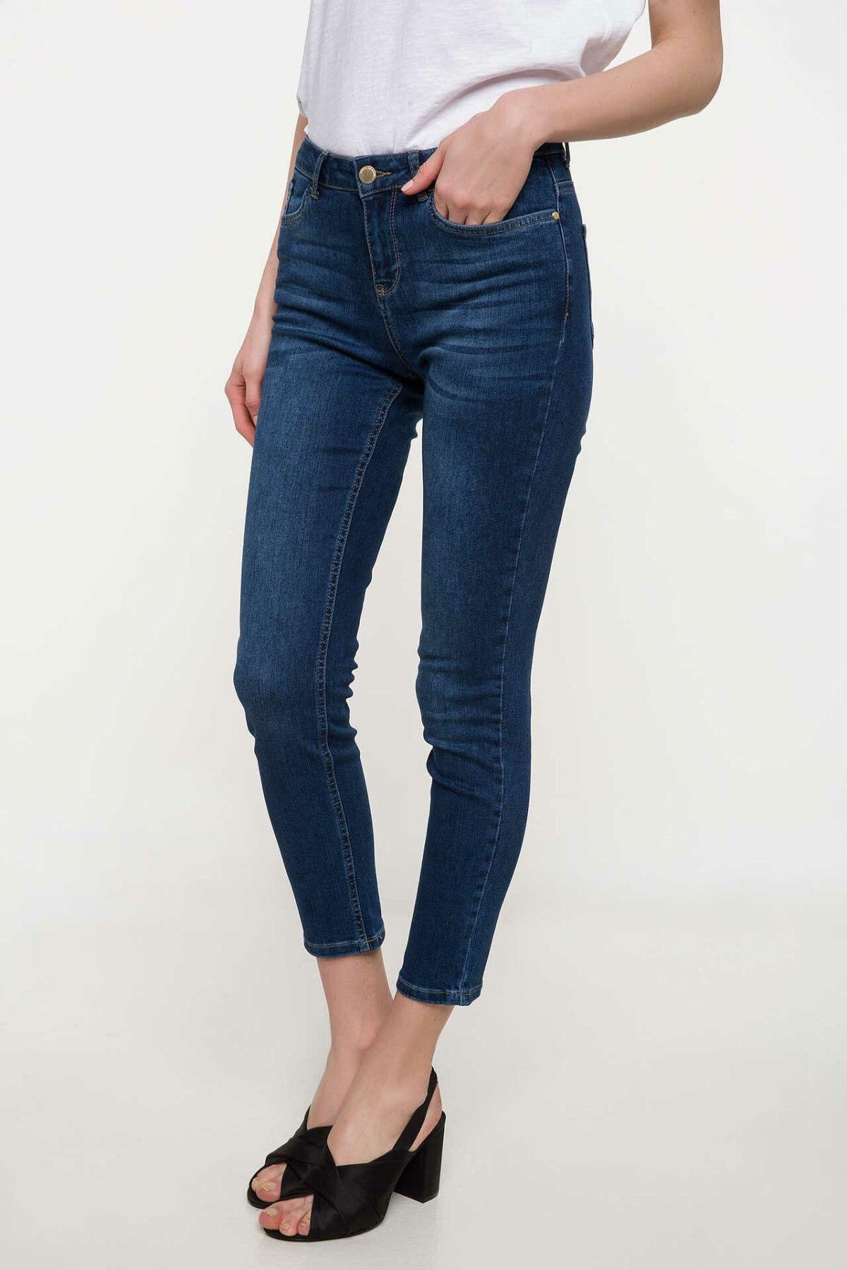 DeFacto Women Summer Skinny Denim Jeans Women Casual Ninth Denim Pants Female Slim Blue Denim Trousers-I7670AZ18SM