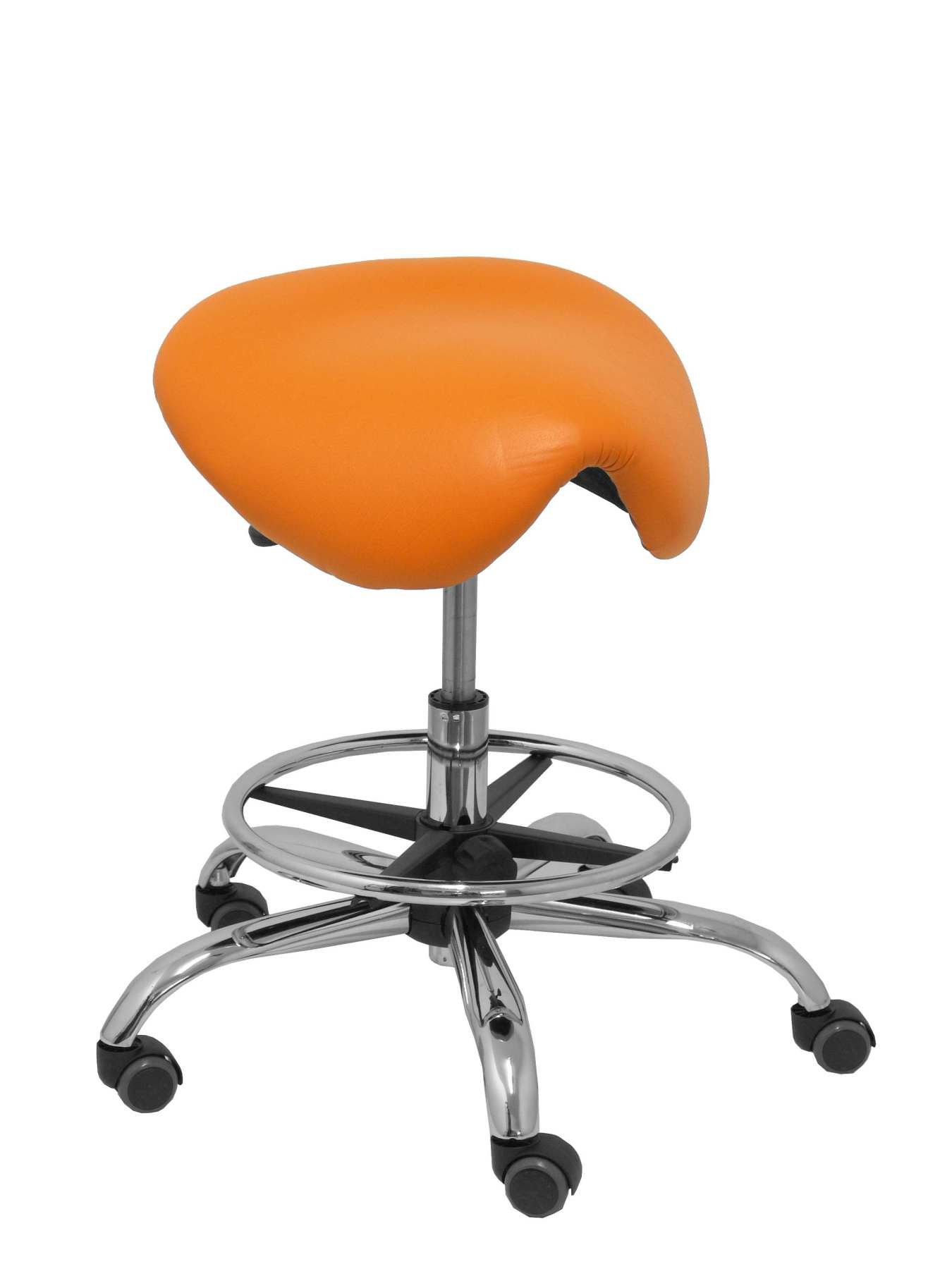 Stool Clinical Rotatable And Ergonomic Seat Anatomical And Adjustable Height (aro Footrest Chrome INCLUDED