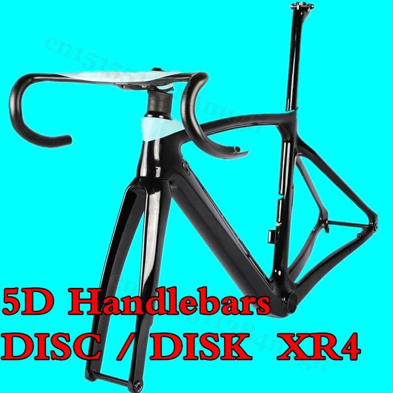 Disk-Disc Brake Axle Toray T1000 Carbon Road Frame XR4 Bicycle Bike Frame+Fork+Seatpost+Handlebars+Clamp 50/53/55/57cm