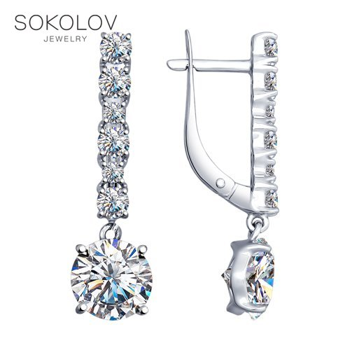 SOKOLOV Silver Drop Earrings With Stones With Stones With Cubic Zirconia Fashion Jewelry Silver 925 Women's Male