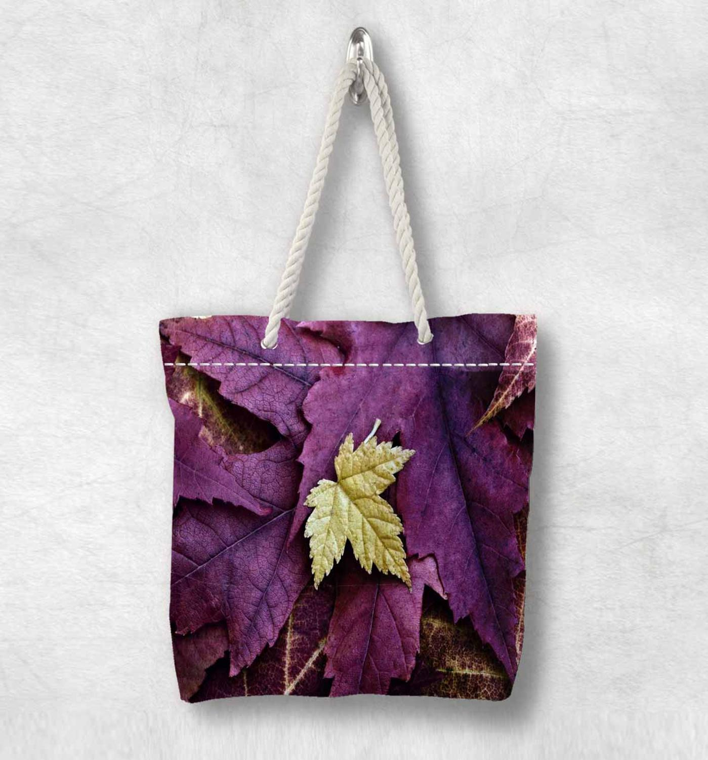 Else Purple Leaves On Yellow Leaf Floral New Fashion White Rope Handle Canvas Bag Cotton Canvas Zippered Tote Bag Shoulder Bag