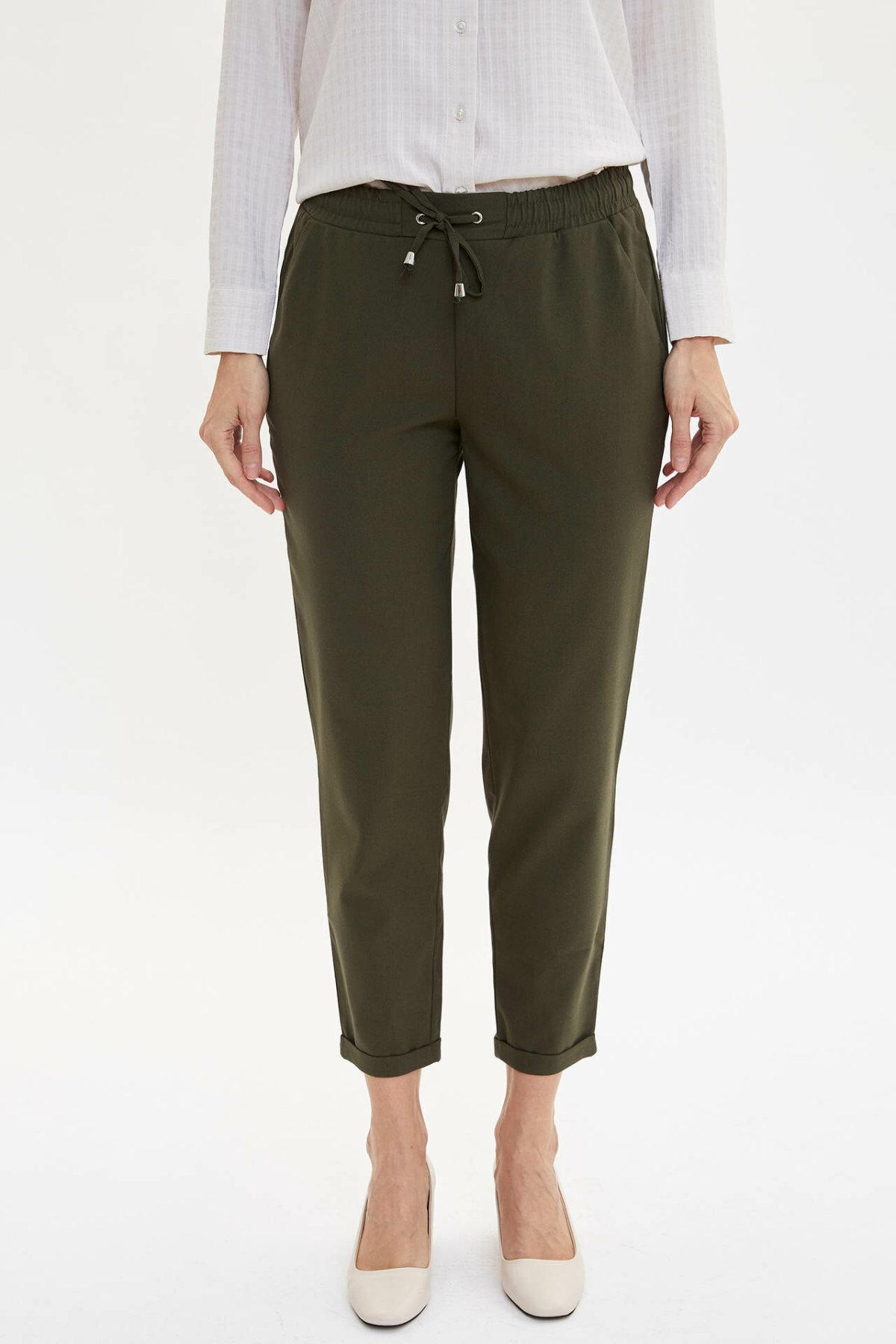 DeFacto Fashion Women Drawstring Waist Trousers Solid Casual Harem Crop Pants Ladies Loose Cargo Pants Female-I4363AZ19AU