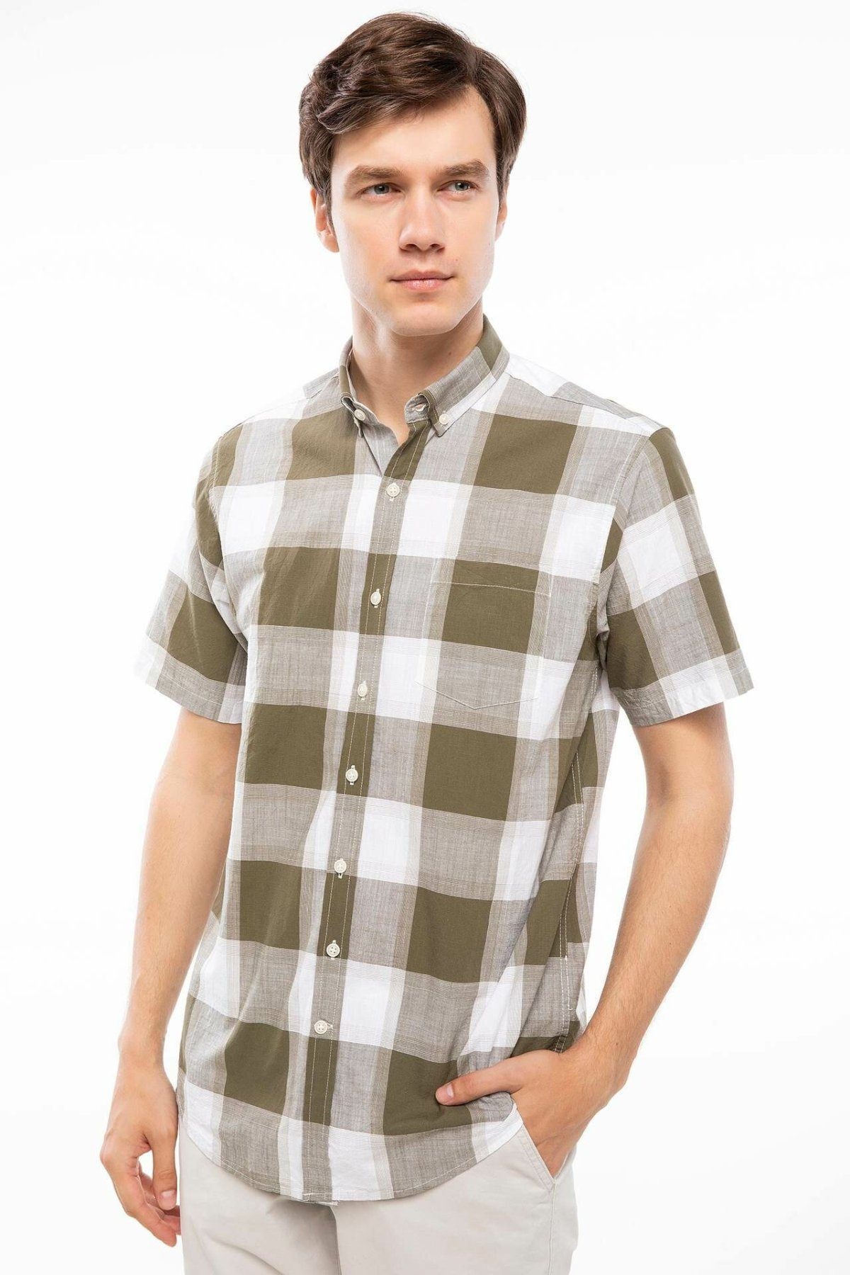 DeFacto Men Plaid Shirts Short Sleeve Casual Shirts Mens Fashion Lapel Collar Casual Cotton Shirt - I3821AZ18SM
