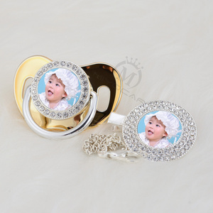 Image 2 - MIYOCAR custom pacifiers dummy any name photo silver bling pacifier and pacifier clip BPA free dummy bling amazing design P 1 P